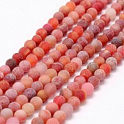 Fire Agate Round Beads Matt 8mm/38cm