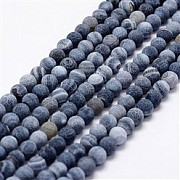 Blue Agate cracked Round Beads Matt 10mm/37-38cm