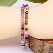 Tourmaline gemstone bracelet green, violet beads 5mm