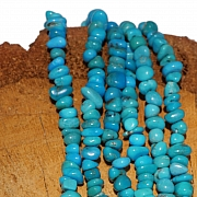 Turquoise beads A + natural rounded stones 5mm 40cm