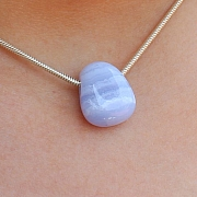 Blue Lace Agate Stone Pendant MINI 18x13mm