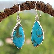 Turquoise Earrings Sterlingsilver 925 24X12mm