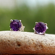 Amethyst Circel Stud Faceted Earrings Sterling Silver 925 4mm