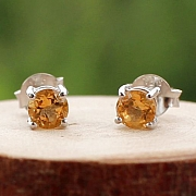 Citrine Circle Stud Facettierte Ohrringe Sterling Silber 925 4mm