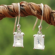 Moonstone Square Earring Sterling Silver 925 7x5 mm