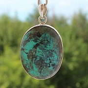 Turquoise Oval Pendant Stone Sterling Silver 925 42x34mm
