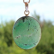 Turquoise Oval Pendant Stone Sterling Silver 925 40x35mm