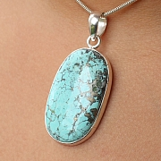 Turquoise Oval Pendant Stone Sterling Silver 925 37x23mm