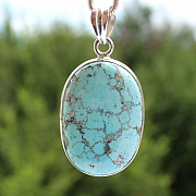 Turquoise Oval Pendant Stone Sterling Silver 925 35x25mm