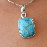 Turquoise Square Pendant Stone Sterling Silver 925 21x12mm