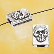 Silver Skull Bead Sterlingsilver925 10x7mm
