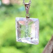 Bergkristall Anhänger Facetten Schliff Natur Kristall Silber 925