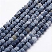 Achat Perlen Frosted Spinnen Netz Matt Blau-Dunkelblau 8mm/37-38cm Steinperlen Strang