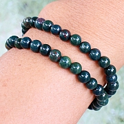 Heliotrope Stone Bracelet Round Beads 6 mm