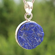 Lapislazuli Circle Round Pendant Natural Stone in Sterlingsilver 925  22 mm Ø