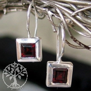 Earrings Granat faceted
