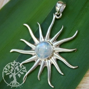 Silver Pendant Sun with Moonstone 2