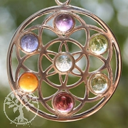Flower of Life - Silver pendant Sterlingsilver Gemstones in Chakra Colours