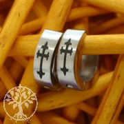 Stainless Steel Hoop Earrings Celtic Cross 4 mm
