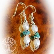 Tuerkis- Perlen Ohrringe mit Silber