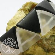 Bergkristall / Onyx Armband Triangle 20mm Perlen