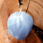 Chalcedony Pendant Blue Lace Agate with Silver 925 Loop