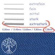 Perlseide Blau mit Nadel 1,05mm extrastark