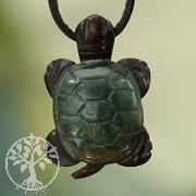 Onyx - Moosachat Schildkröten-Anhänger
