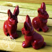Rabbit Red Jasper with long ears 3 pieces