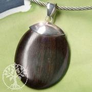 Holz Anhänger oval 2 Silberfassung 925