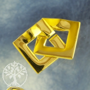 Clasp Ring-Ring Square Goldplated Shiny 12 mm Sterlingsilver