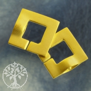 Clasp Ring-Ring Square goldplated frosted 15 mm