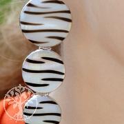 Zebra-Muschel Ohrhänger mit Silber 3