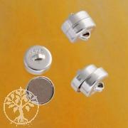 Magnetverschluß, echtes Silber, 7 mm, Button, 3 Stück