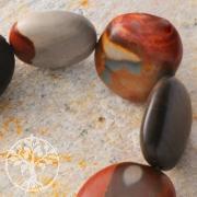 Edelstein-Perlen, Polychronik Jaspis, flach getrommelt 20x30 mm
