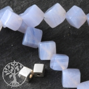 Gemstone-Beads, Chalcedony, Cube 6mm