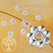 Zwischenteile Silber 925, 7 Kugeln Silberperle, 4x1,3mm Zwischenperle