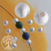 Silverbead, 6 mm, satin, big whole Sterlingsilver bead