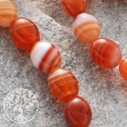 Achat Perlen Orange Olive 8x6mm