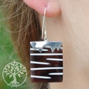 Rechteckiger Zebra Ohrhänger Silber 925 Ohrringe