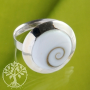 Flat Shiva Shell Ring with silver