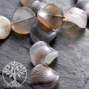 Gemstone-Beads Botswana Agate Twist Round 16x8mm