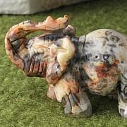 Edelstein Elefant Crazy Lace Achat