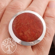 Red Coral Ring with Silver