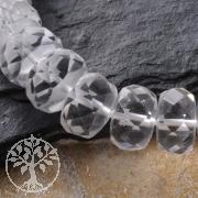 Bergkristall Button Perlen Facettiert 10x7mm