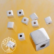 Silverbead Cube 4mm Middle Hole Sterlingsilver