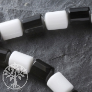 Gemstone-Beads Mix 3 Black And White Facetted Barrel