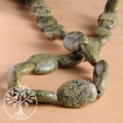Schlangenhaut Jaspis Grün Ovale Perlen 19mmx40cm Natur EdelsteinPerlen