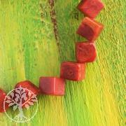 Coral Cube diagonal Beads