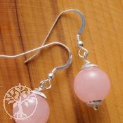 Rose Quartz Ear Pendants